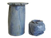 Danae Gemanakis - Blue vase with pierced rim, 2003 & Blue candle holder, 2003