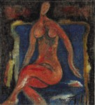 Renos LOIZOU - Nude on blue chair, 1991