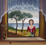 Niki ELEFTHERIADI - Window with lace curtain and young woman