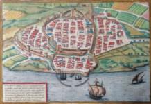 135.1 CAGLIARI MAP - Georg BRAUN and Frans HOGENBERG