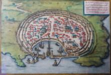 138 RHODES MAP - Georg BRAUN and Frans HOGENBERG