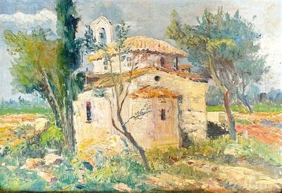 Spyros PAPANICOLAOU - Landscape with church