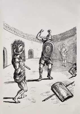 Giorgio De CHIRICO - I Gladiatori nell'arena